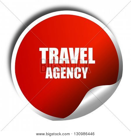 travel agency, 3D rendering, red sticker with white text
