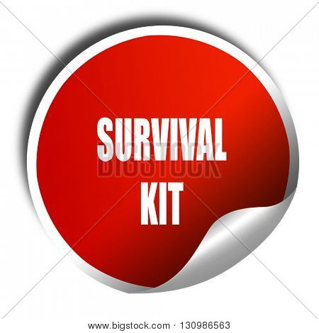 Survival kit sign, 3D rendering, red sticker with white text
