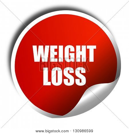 weight loss, 3D rendering, red sticker with white text