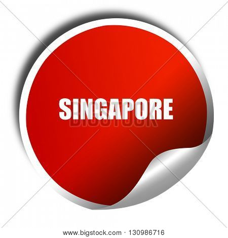 singapore, 3D rendering, red sticker with white text