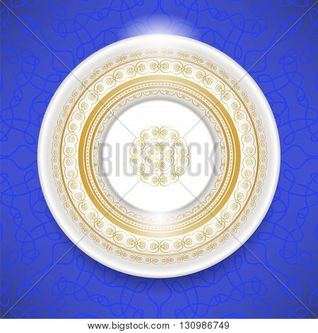 Ceramic Ornamental Plate Isolated on Blue Background. Top View