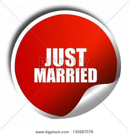 just married, 3D rendering, red sticker with white text