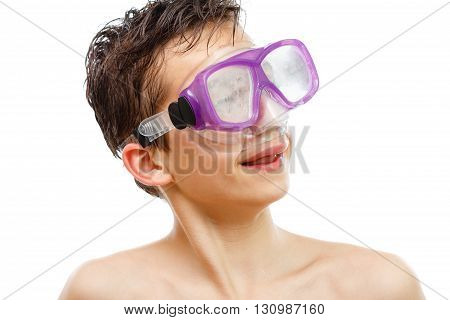 Boy diver in swimming mask with a happy face close-up portrait, isolated on white background.