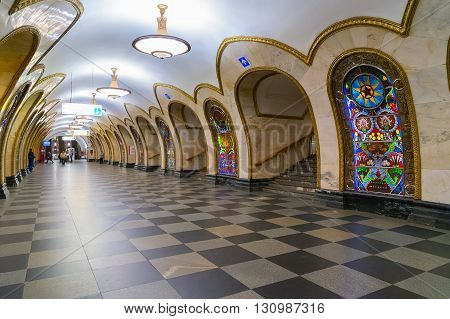 Station of Moscow public metro station Nowosloboskaya, Russia