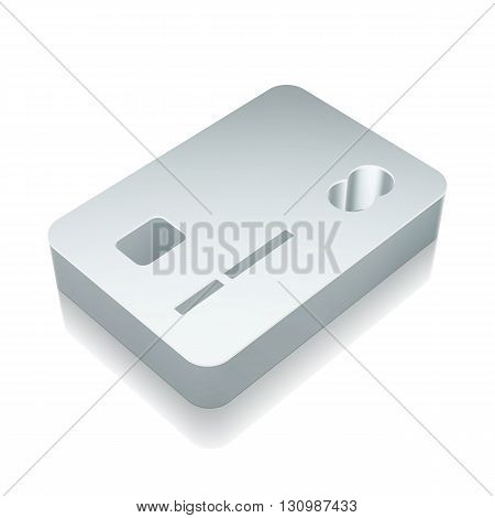 Business icon: 3d metallic Credit Card with reflection on White background, EPS 10 vector illustration.