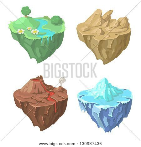 Cartoon Stone Isometric flying Island for Game, Landscape cartoon nature Vector Element