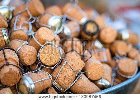 a group of wine corks, closeup shot