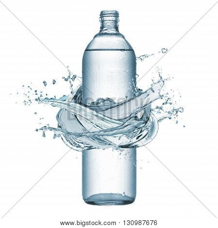 bottle of natural water with splash water around isolated on white