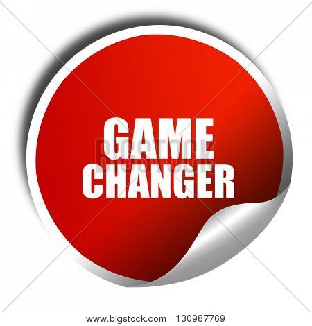 game changer, 3D rendering, red sticker with white text