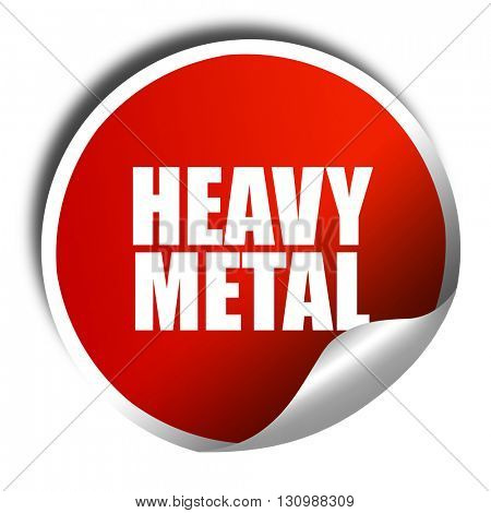 heavy metal music, 3D rendering, red sticker with white text