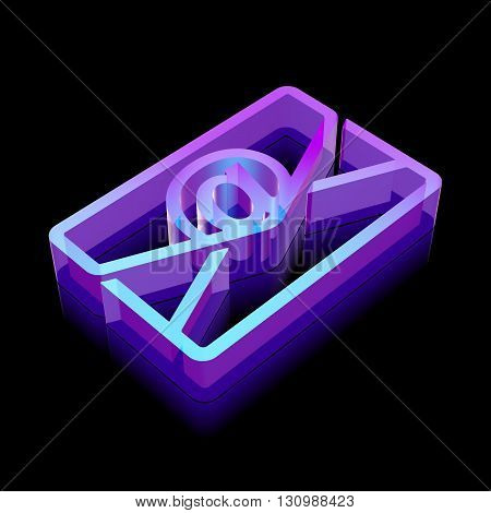 Finance icon: 3d neon glowing Email made of glass with reflection on Black background, EPS 10 vector illustration.