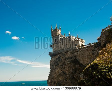 Swallow nest castle sideview in Crimea Ukraine