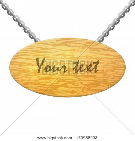 Vector illustration of isolated wooden plate on a white background. Wooden plaque with an inscription.