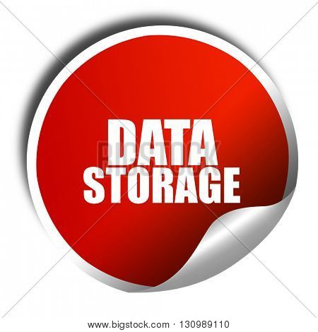 data storage, 3D rendering, red sticker with white text