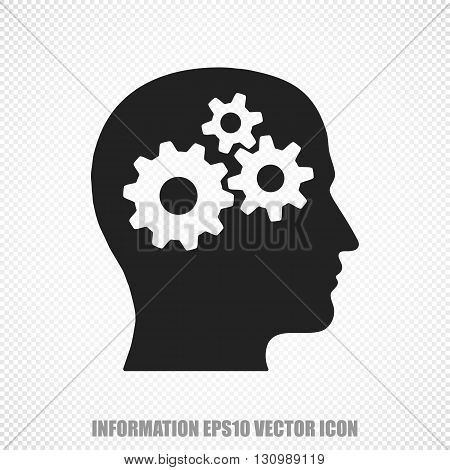The universal vector icon on the Data theme: Black Head With Gears. Modern flat design. For mobile and web design. EPS 10.