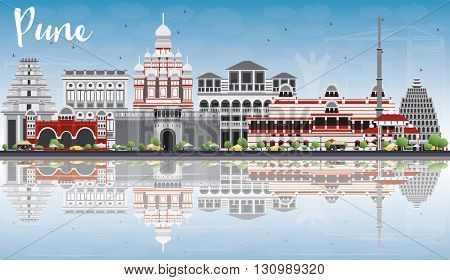 Pune Skyline with Color Buildings, Blue Sky and Reflections. Vector Illustration. Business Travel and Tourism Concept with Historic Buildings. Image for Presentation Banner Placard and Web Site.