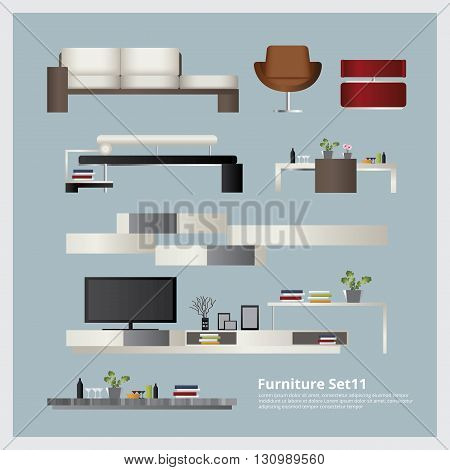 Furniture and Home Decoration Set Vector Illustration