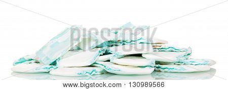 A stack of diapers isolated on white background.