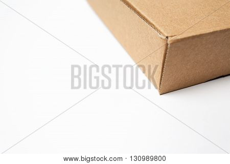 Brown carton cardboard package box isolated white background.