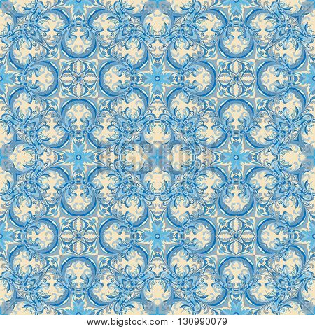 Wallpaper in the style of Baroque. A seamless vector background. Damask floral pattern. Delicate blue tone.