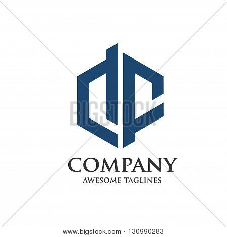 letter DF hexagon logo, D and F logo, Letter D, Letter F concept