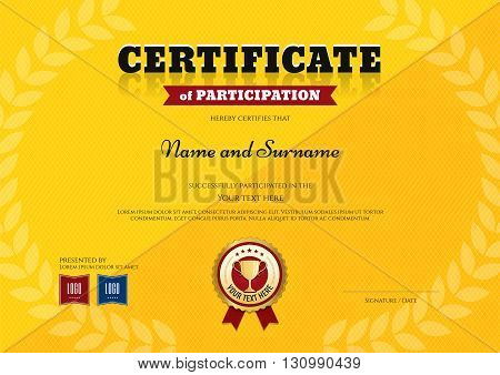 Certificate of participation template in sport yellow theme with triumph laurel wreath and trophy ribbon