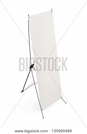 Side banner x-stands display isolated on white background. 3d render image.