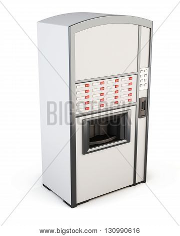 White vending machine for drinks and snacks on a white background. Side view. 3d rendering.