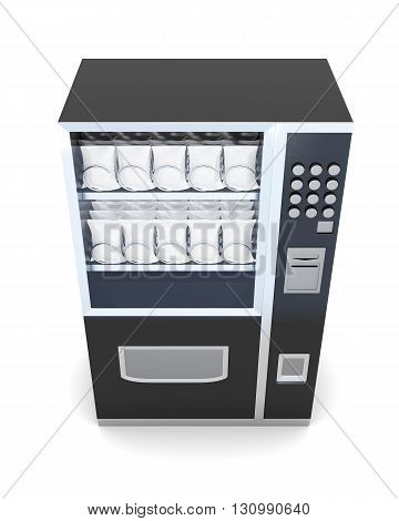Black machine for sale of snacks isolated on white background. 3d rendering.