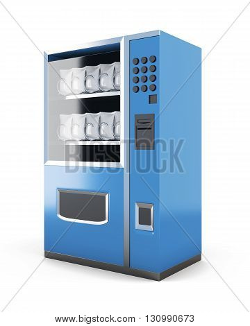 Blue machine for sale of snacks isolated on white background. 3d render.