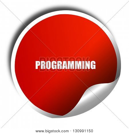 programming, 3D rendering, red sticker with white text