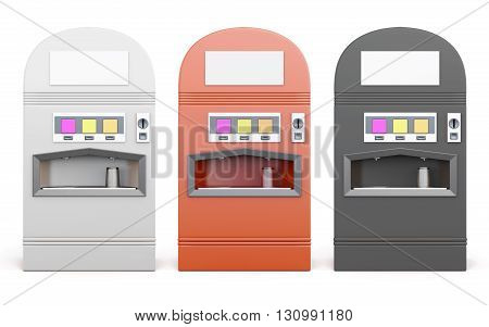 Set of vending machine for beverages isolated on white background. 3d rendering.