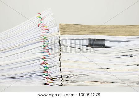 Overload Paperwork Have Brown Envelope On Document With White Background