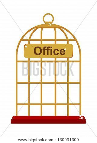 Office work as the reliable gold birdcase. Flat vector illustration. Isolated objects.