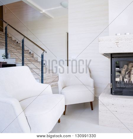 Fireplace in beautiful and bright huge apartment