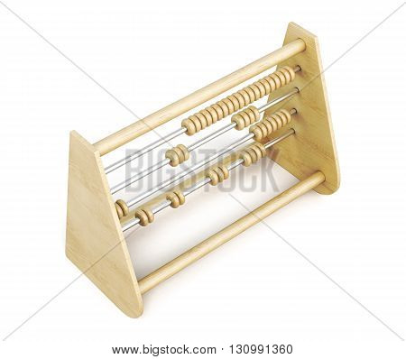 Wooden abacus top view isolated on a white background. 3d rendering.