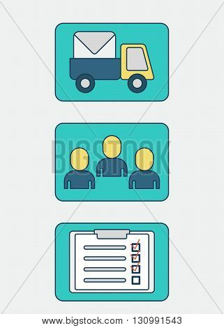 Order delivery. Report on the delivery of the goods. Vector illustration. Isolated objects. Flat vector illustration. Isolated objects.