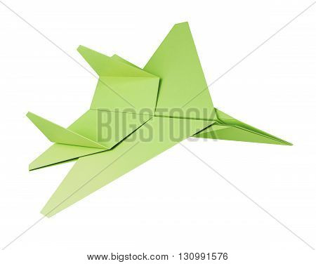 Green paper plane on a white background. Origami plane. 3d rendering