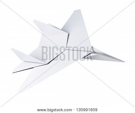 White paper plane isolated on white background. Origami plane. 3d rendering
