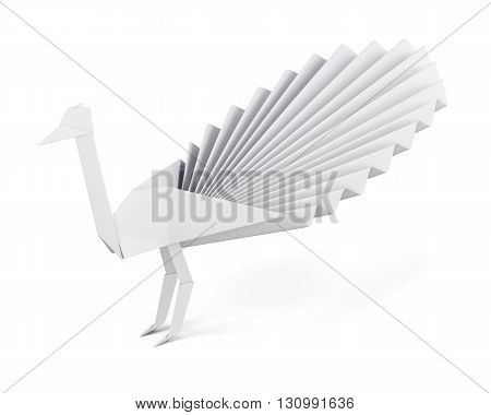 Origami peacock made of paper isolated on white background. White paper peacock. Side view. 3d render image