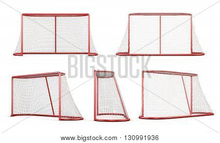 Set of football goal isolated on white background. 3d rendering.