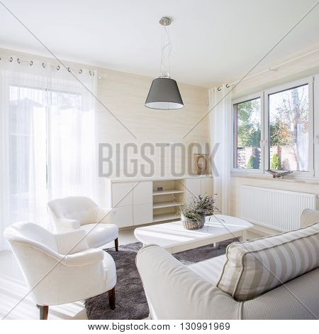 Interior of comfy and bright living room