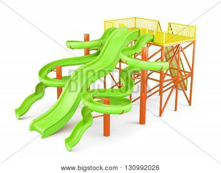 Water slides isolated on a white background. Side view. 3d rendering.