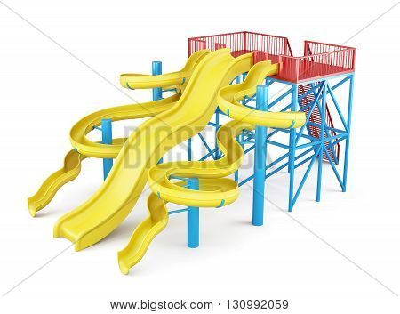 Water slides isolated on a white background. Side view. 3d render image.