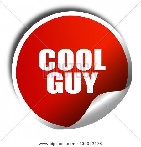 cool guy, 3D rendering, red sticker with white text