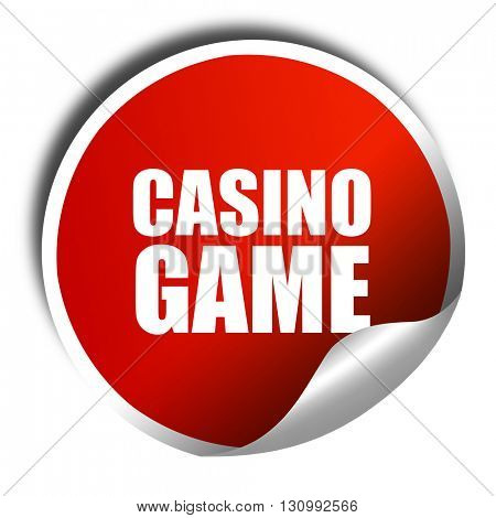 casino game, 3D rendering, red sticker with white text