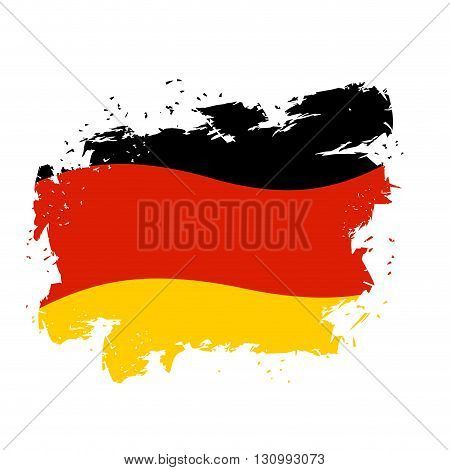 Germany Flag Grunge Style On White Background. Brush Strokes And Ink Splatter. National Symbol Of Ge