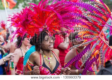 Woman In Costume On Carnival Of Cultures In Berlin