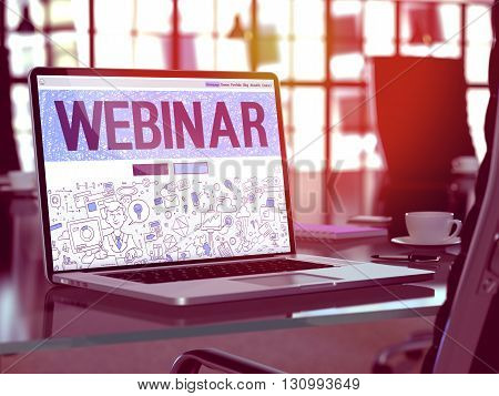 Webinar Concept - Closeup on Landing Page of Laptop Screen in Modern Office Workplace. Toned Image with Selective Focus. 3D Render.