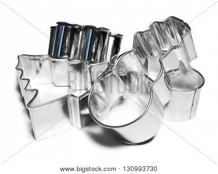 Christmas cookie cutters, isolated on white background